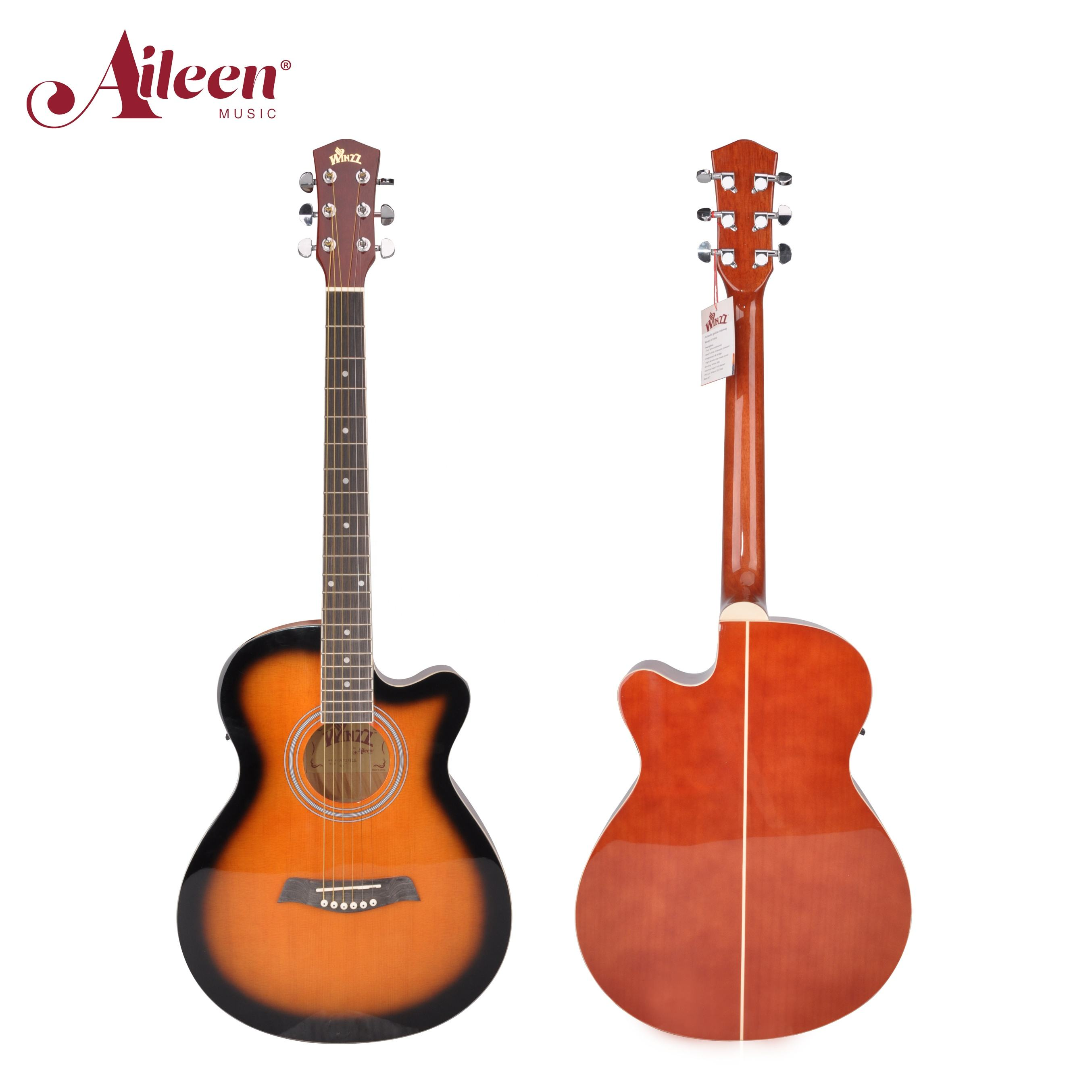 AileenMusic 40 inch high quality acoustic electric guitar cutaway(AF238CE)
