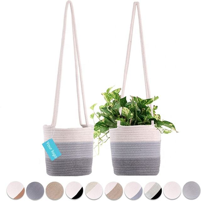 Eco-Friendly Natural Cotton Hand Woven Decorative Hanging Rope Plant Baskets with Long Hanging Rope