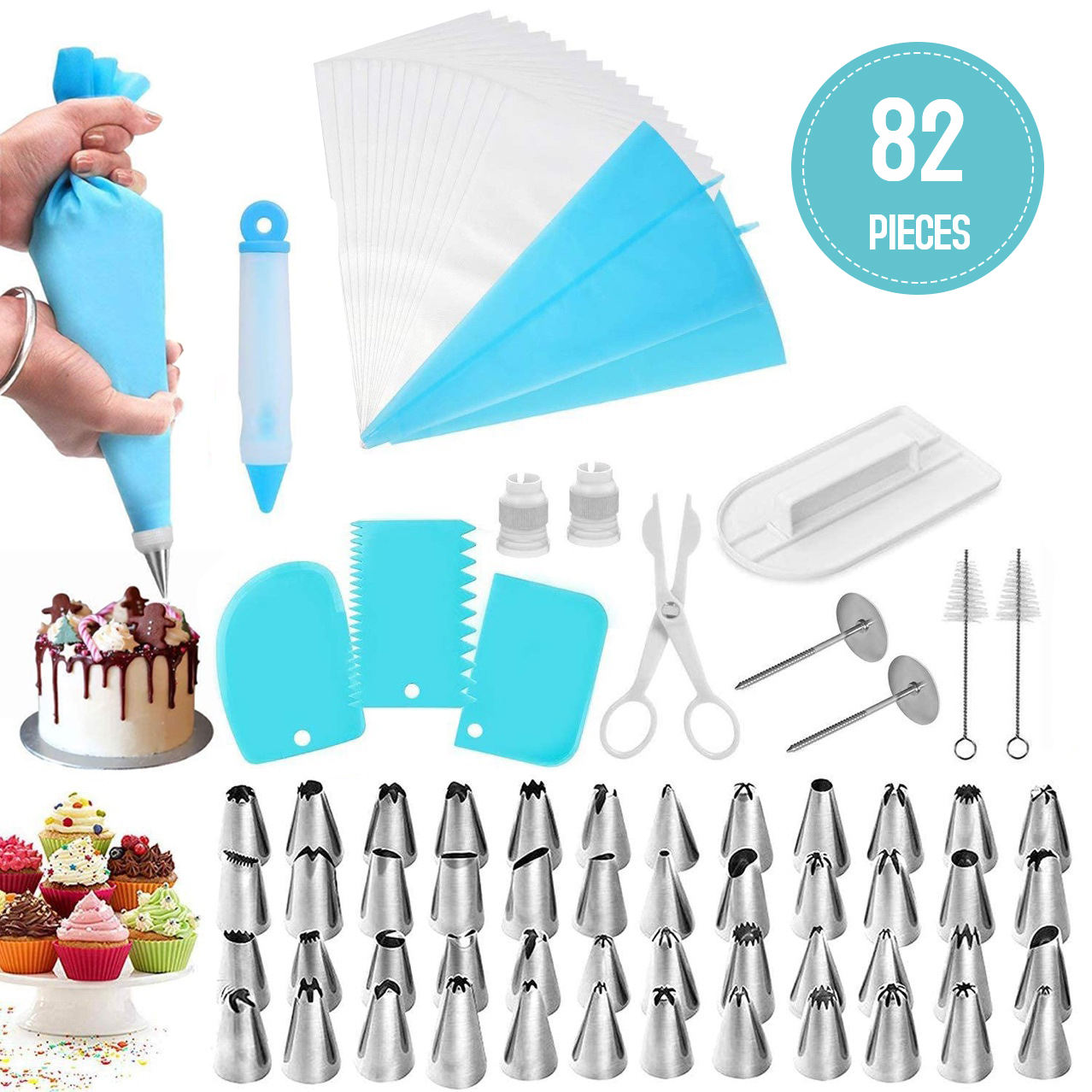 82PCS Cake Decorating Supplies Kit Set Baking Tool Turntable Stand Equipment//