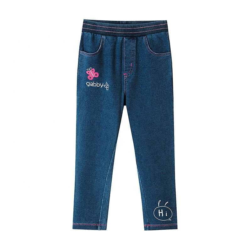 Fashion autumn girls jean denim stacked pants outfits for kids with floral embroidery children clothes