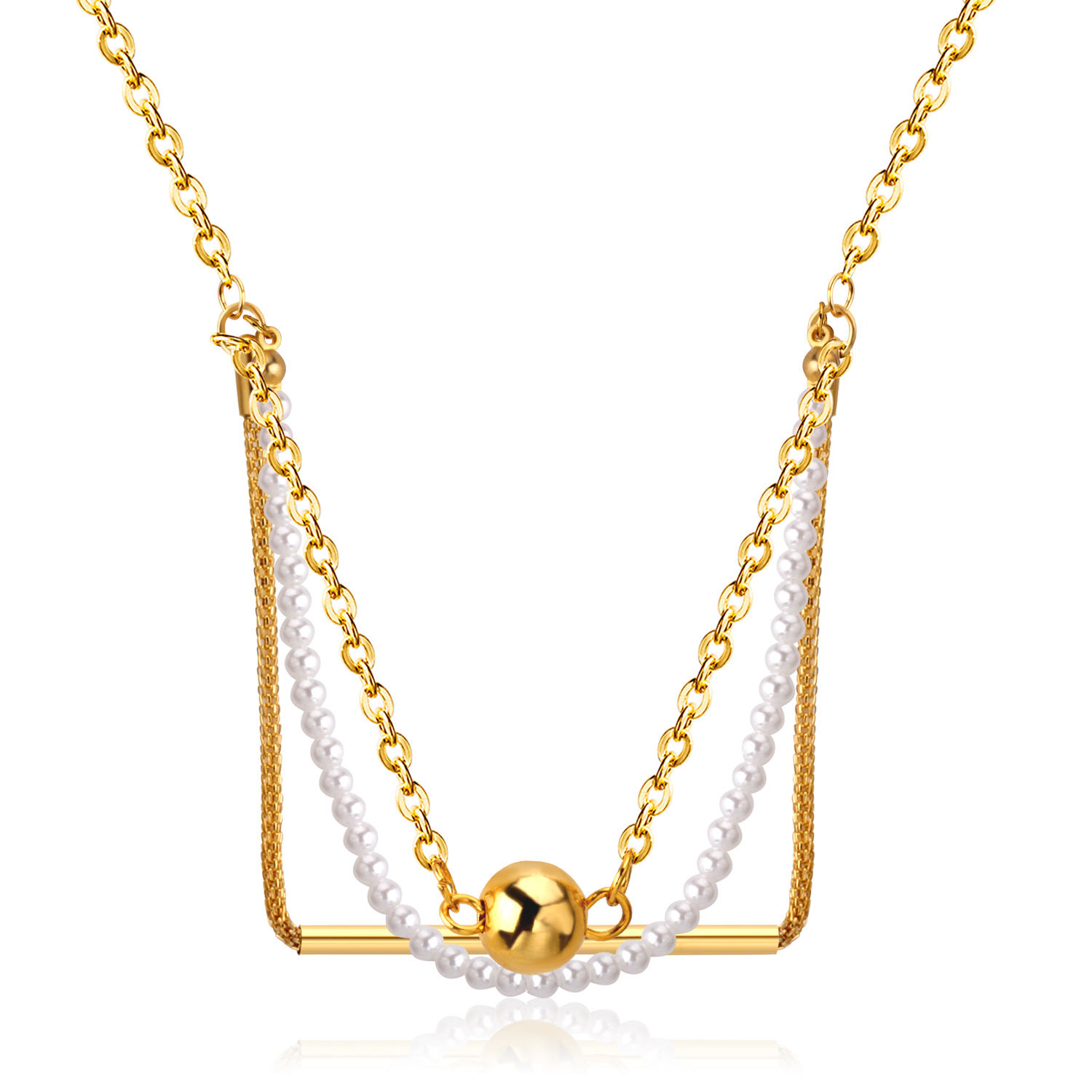 Charm Design Gold-plated Women Jewelry Stainless Steel Elegant White Pearl Chains Round Beads Necklace