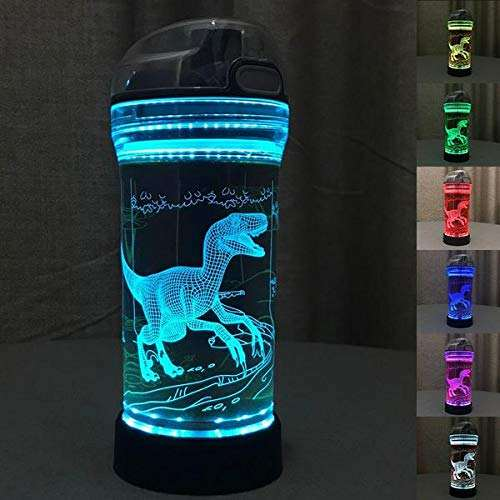 Sport Water Bottle with 3D Night Light Illusion Lamp