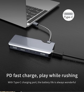 HUNDA Factory Price usb hub 7 port Charging Docking Station Type c adapter for laptop 7 in 1 hub