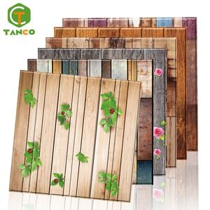 Custom Waterproof DIY Papers PVC Sticker Home Decor Background Self Adhesive Wood Grain Wallpaper Foam 3D Wall Panel