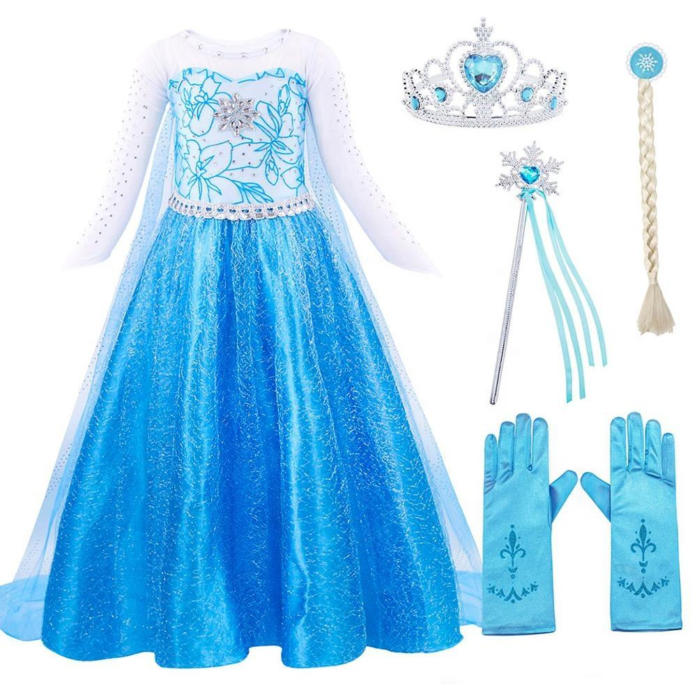 Kids Girls Elsa Princess Christmas Cosplay Costume Party Fancy Dress