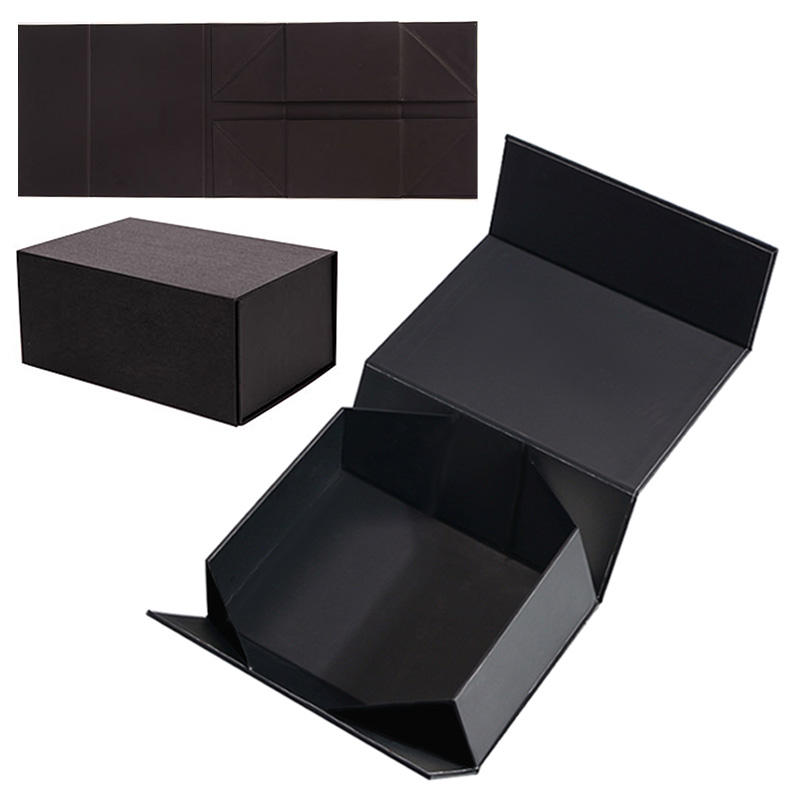 Custom Luxury Black Cardboard Shoe Box Folding Magnetic Paper Gift Box Packaging