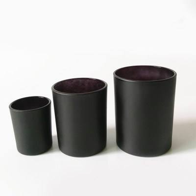 Hot Sell Matte Black Glass Candle Jar Glass Candle Holders Gift Set With Bamboo Lid