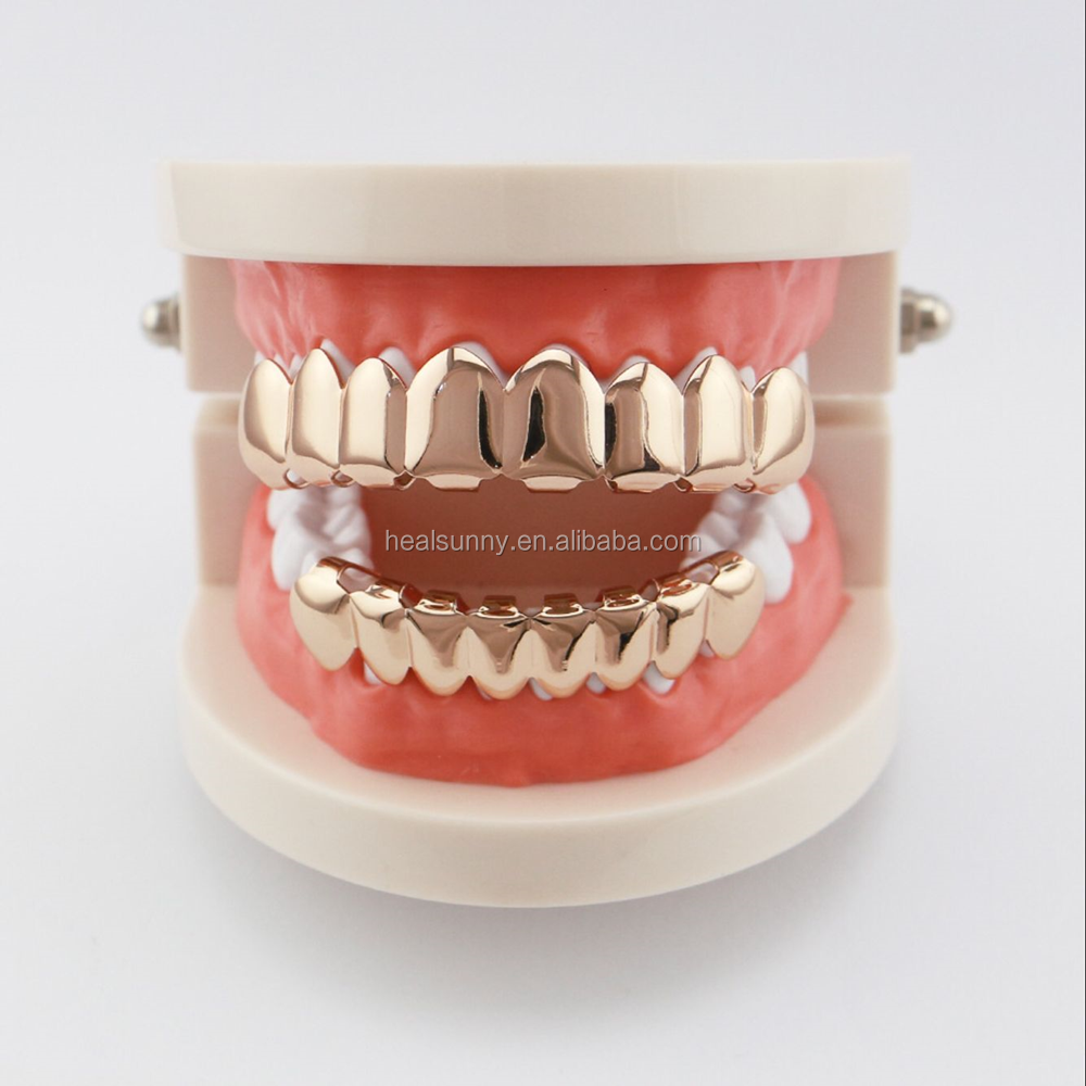 Gold Teeth Grillz Top Bottom Grills Dental Mouth Punk Teeth Caps Cosplay Party Tooth Body Jewelry Dental Grills Set