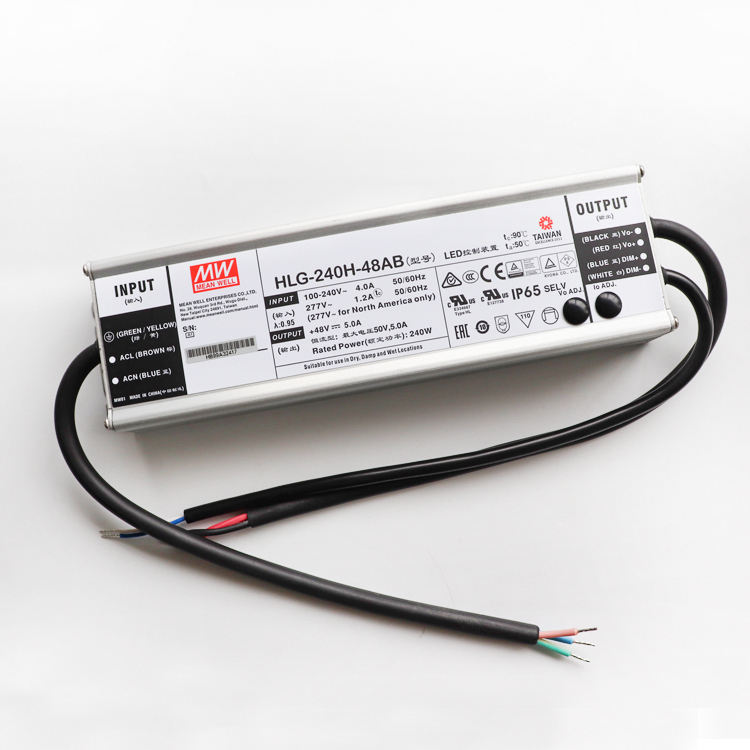 127~431VDC Wire Leads Input: 90~305VAC Mean Well HLG-240H-12B LED Power Supply CV+CC 192W 6-12V 16A IP67 1-10V PWM R Dimming