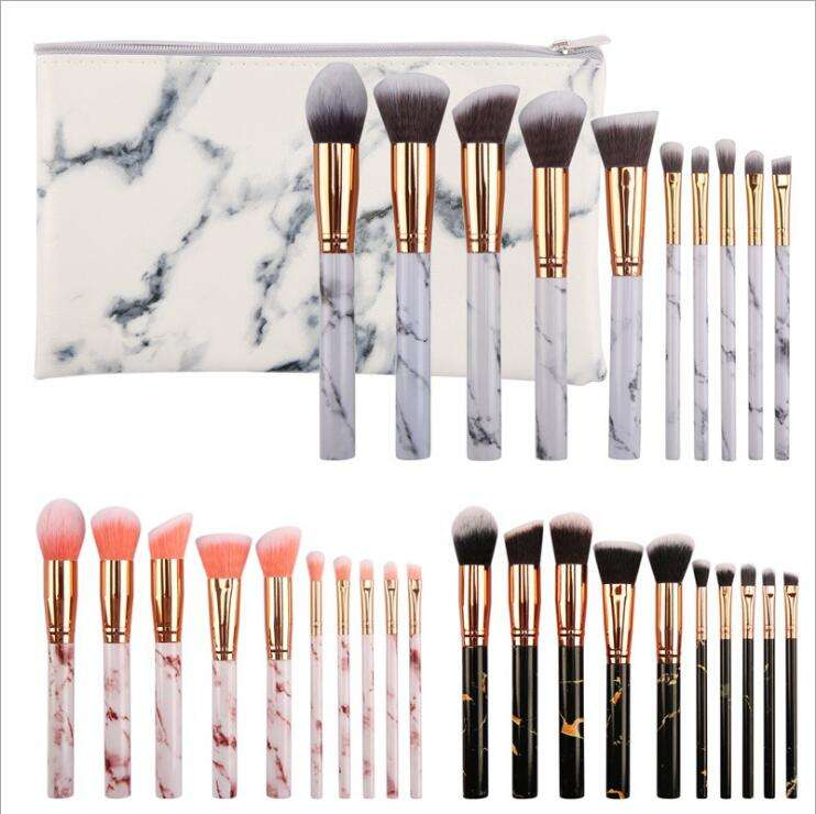 Makeup tools plastic 10 pcs makeup brush sets portable marble brush makeup sets