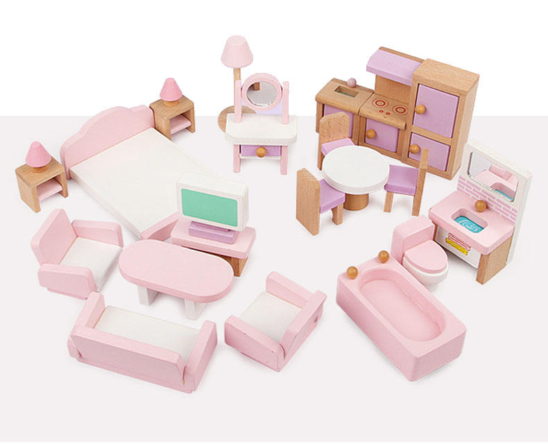 Mini Wooden Toy Doll House Kids Doll House Furniture Miniature Pretend Play Furniture Set For Children