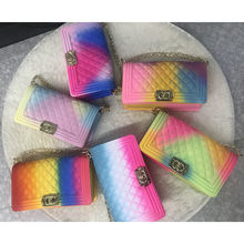 rainbow purses Amazon hot sell beach fashion luxury Lady crossbody chain bags color handbags jelly bag for women rainbow bag