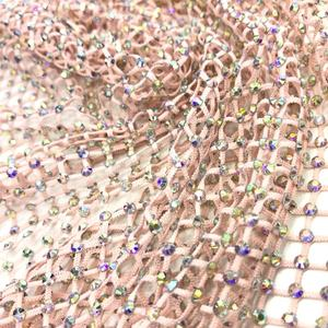 S110 50cm X150cm SS12 Wholesale Mesh Fabric Trimming Stretch Elastic Crystal Glass Rhinestone Net Mesh for cloth
