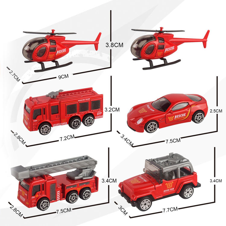 Alloy fire truck children's toy pull back to die casting car Two mixed packages