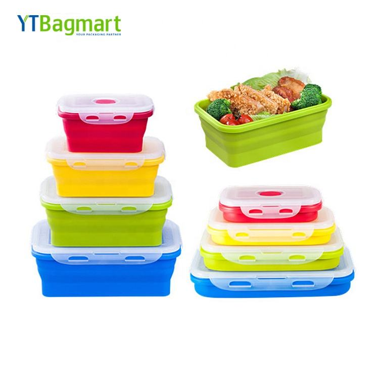 Food Grade Oven Veilig Siliconen Folding Lunch Box Inklapbare Opvouwbare Silicone Voedsel Opslag Container Met Deksel