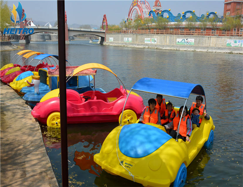 Outside water sport amusement equipment pedal boat/motor boat dual-purpose car boat for 5persons