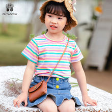 High quality Kids Clothes Wholesale  new summer girls rainbow stripes t shirt