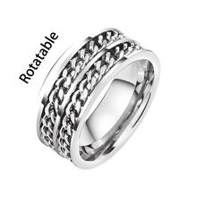 Hot selling European and American titanium steel rotatable chain ring stainless steel personality two-color ring ring