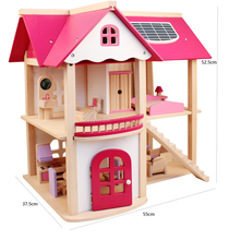Pretend Toy Kids Wooden Doll Villa  play house