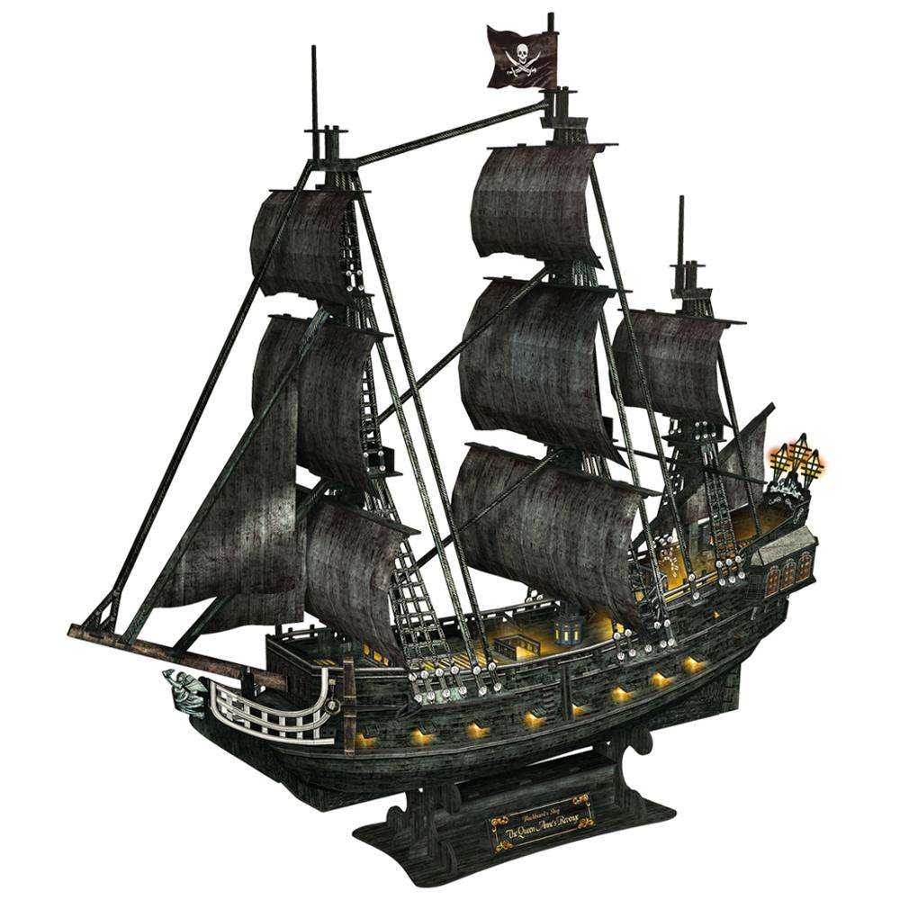 Tostudy Queen Anne's Revenge Pirate Brighten Ship Model Kit with LEDs 3D Puzzle Toys for Kids