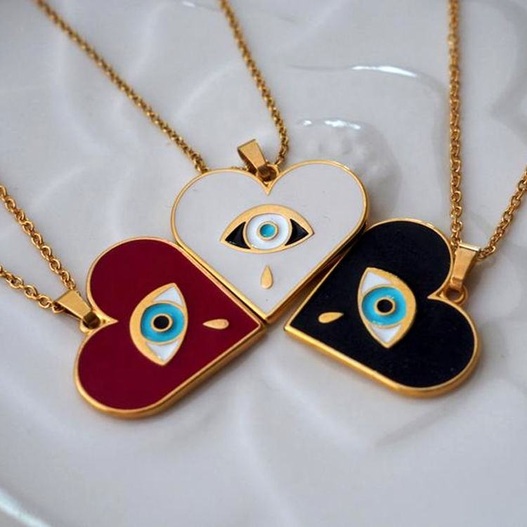 18K Gold Plated Liefde Charm Rvs Sieraden Enamel Eye Hart Hanger <span class=keywords><strong>Ketting</strong></span> Voor Bff