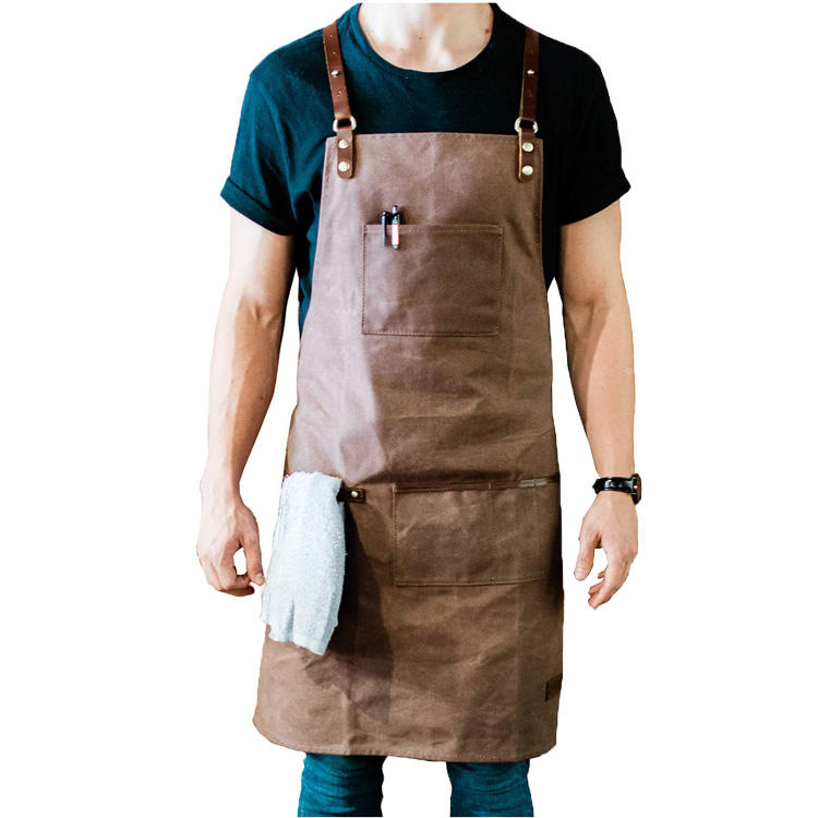 The canvas BARISTA shoulder strap work towel holder coffee barthe leather apron