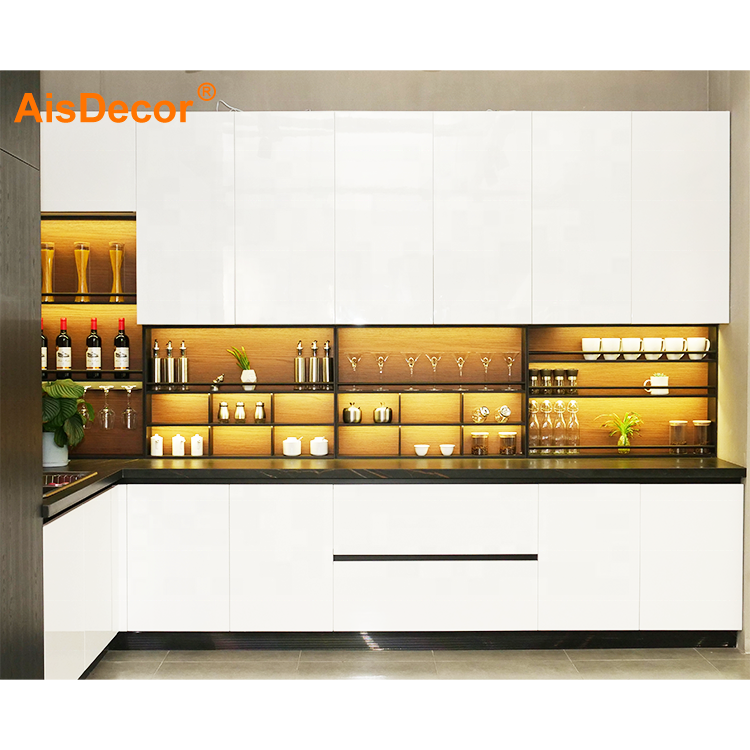 Modern Design Wooden Material White Color High Glossy Lacquer Kitchen Cabinet