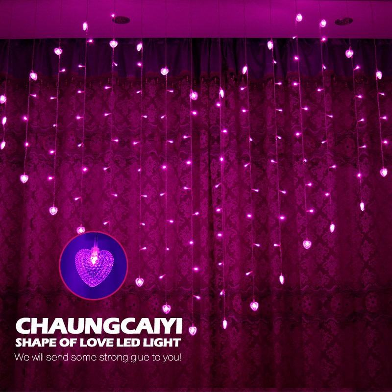 LED Icicle String Lights Christmas Window Fairy Lights garland Outdoor Hearts For Wedding decoration light curtain