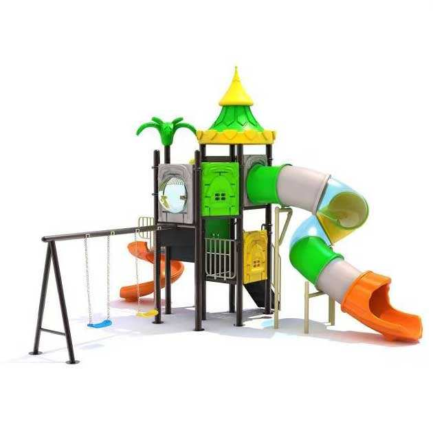 Double high quality children outdoor playground equipment natural series of slides large plastic playground fun to play