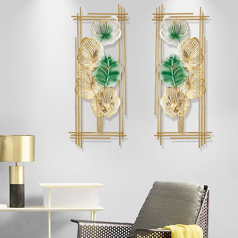Wall Decor New Panels Display Gold House Iron Interior Modern Living Room Frame Art Hanging Flower Metal Sticker Home Decor Wall