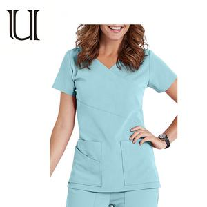 Wholesale High Quality Short sleeve 3 Pocket Wrap Detail Scrub Top Hospital Uniforms Medical scrubs