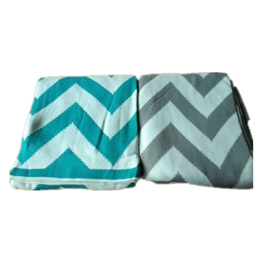 50DB74-1 100% acrylic cotton chevron cotton knit waterwave design baby adult knit throw plaid blanket