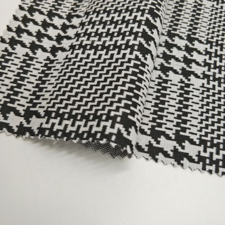 2020 fashion houndstooth thick 98 polyester 2 spandex stock lot jacquard fabric