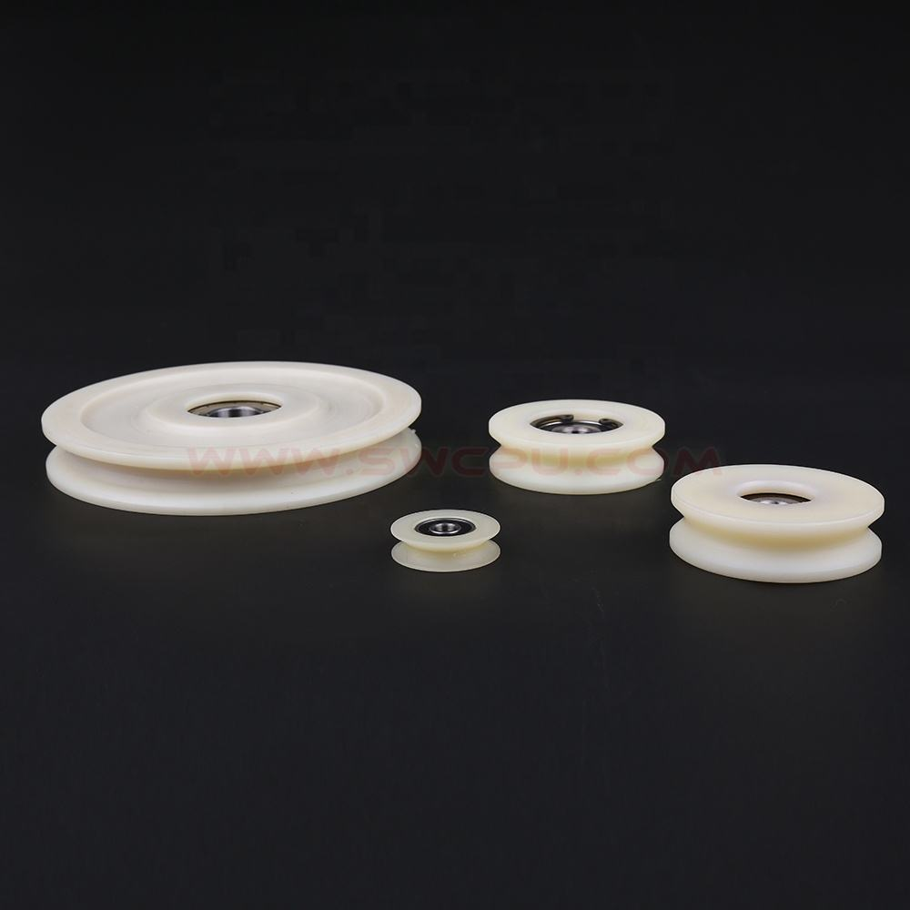 PU Polyurethane plastic coated pulley wheel bearing