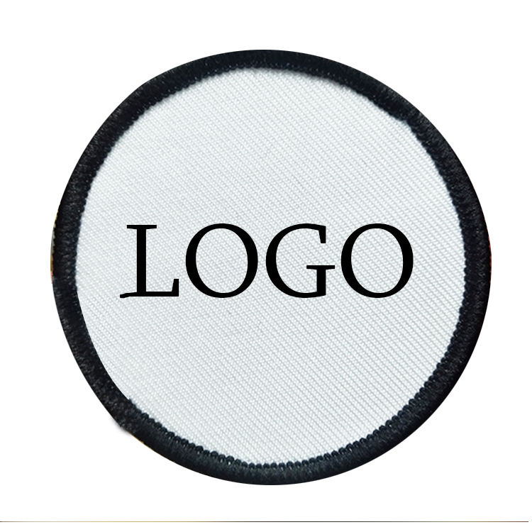 Australia custom wholesale embroidered 7cm round polyester fabric iron on white embroidery blank patches for sublimation printed