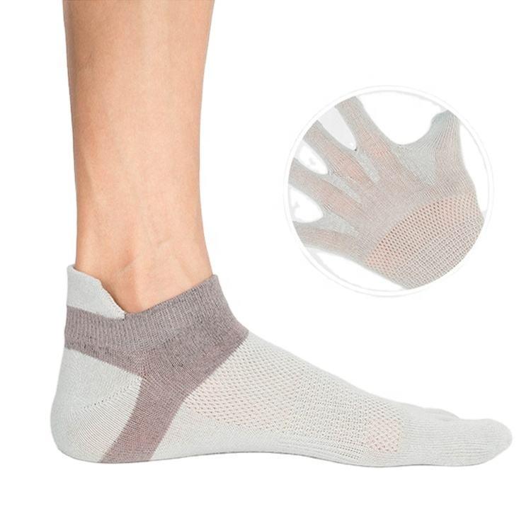 Custom Breathable Men Athletic 5 Toe Socks Ankle Sport Socks With Five Fingers