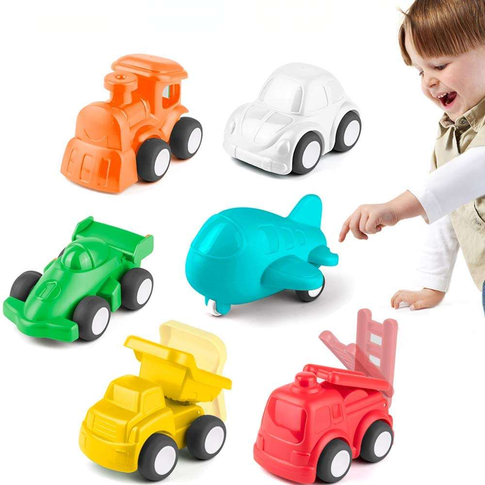 KidPal Baby Toy Car for 1 2 Year Old, 6 Pack Car Toy Vehicle for Baby Boy Girl, Color Learning | Role-Play Fun Push and Go Car