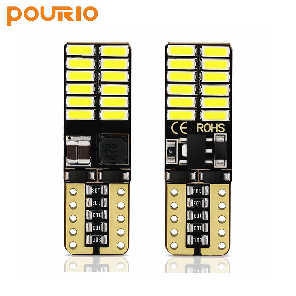 Pourio 194 LED Light Bulb <span class=keywords><strong>T10</strong></span> 24-SMD 4014 800LM CANBUS Error Free 168 2825 <span class=keywords><strong>W5W</strong></span> LED Light Bulb für Map Door License Plate Light