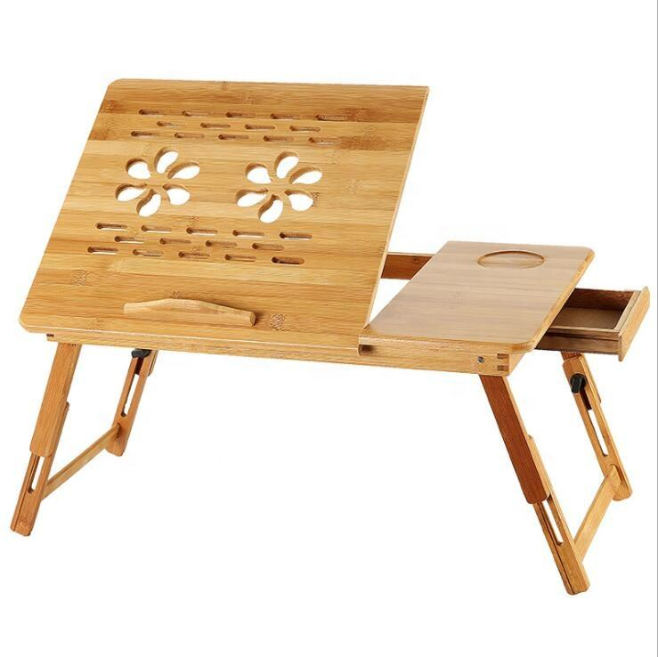 Bamboo Adjustable Recliner Laptop Table With Cooling Hole Drawer