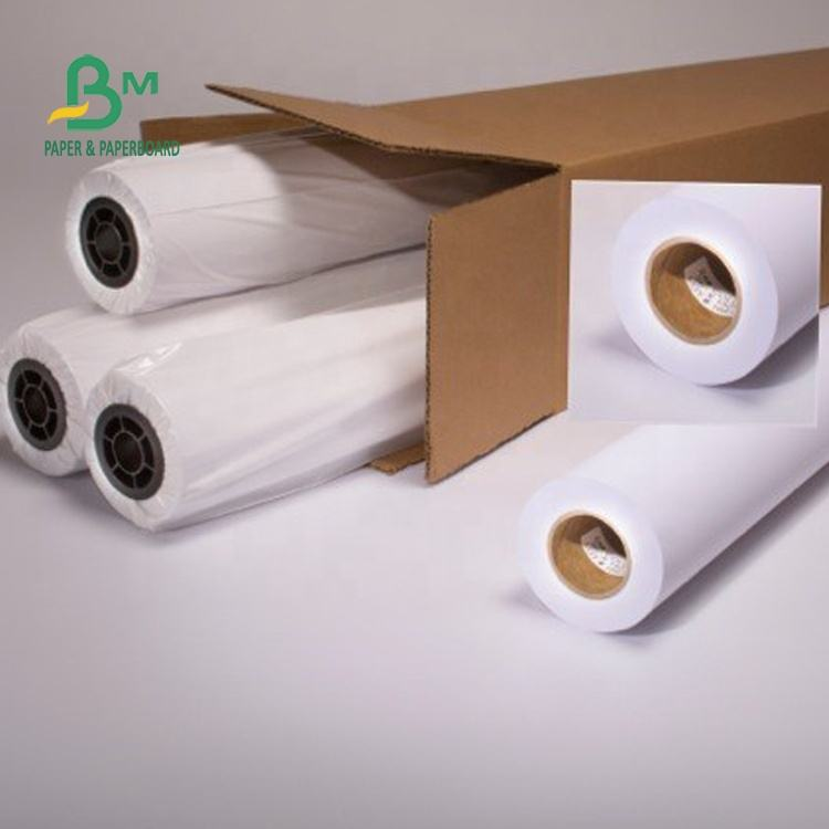 Waterproof White Blue 80g Plotter Paper 24 / 36 Inch x 50m / 100m Roll Packing