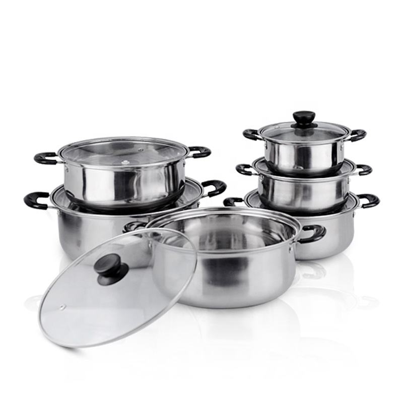 Cheap wholesale soup stock cooking pot 12pcs stainless steel cookware set