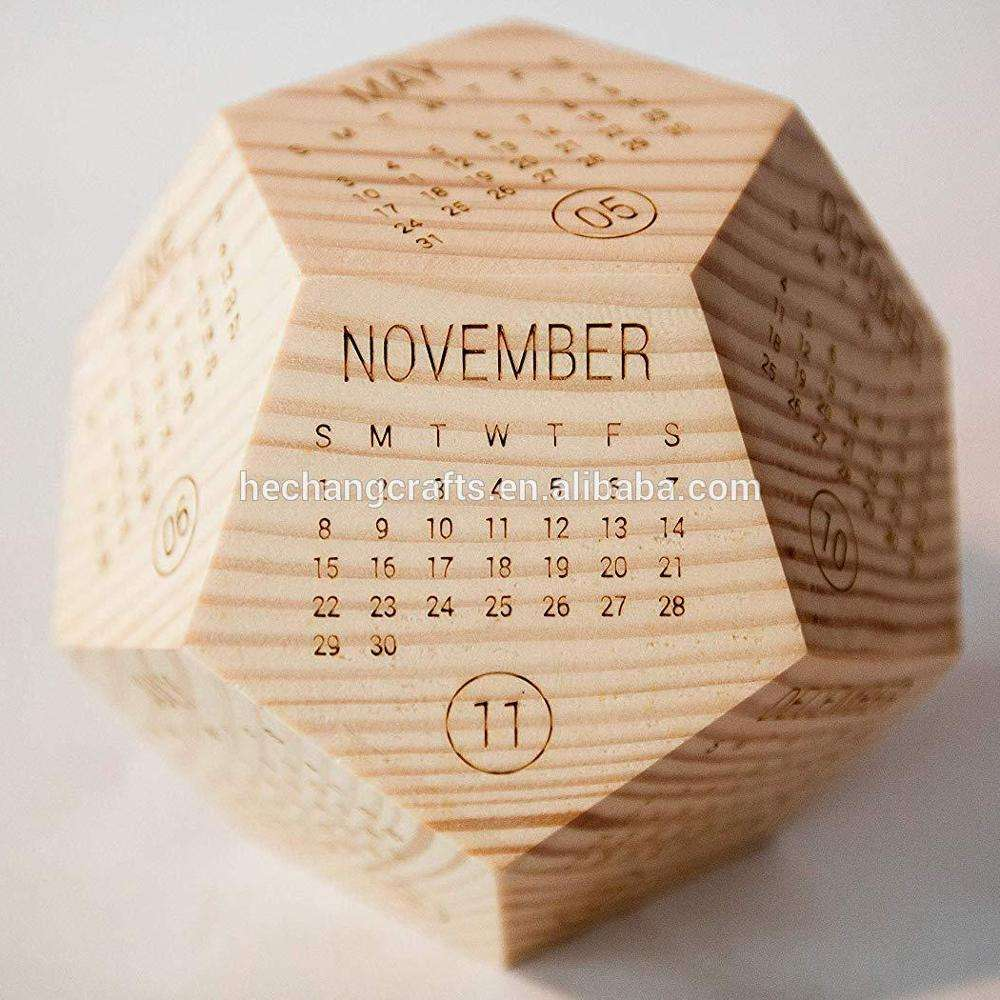 Solid Wooden Table Calendar 2021
