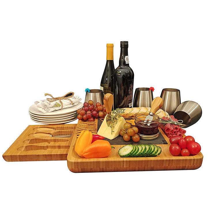 Wooden Large Unfinished Wood Cheese Board Acacia Cheese Board Set