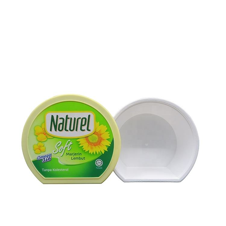 SGS FDA China Customized printed airtight food grade pp margarine butter cup containers oval iml container with lid