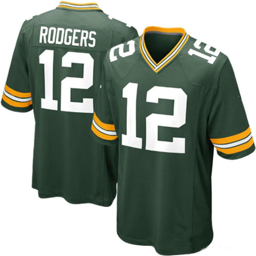 2021 Mens #12 Aaron Rodgers Stitched American Football Jerseys