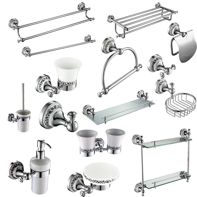 brass Hot sale Modern Bath Accessories Products Chrome Plated Wall-Mounted Bathroom Accessories Sets for hotel