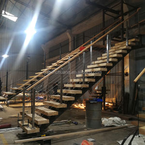 Excellent quality wood stair with stainless steel square columns