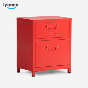 Wholesale modern design household 2 drawer storage cabinet lockable nightstand table steel bedside cabinet
