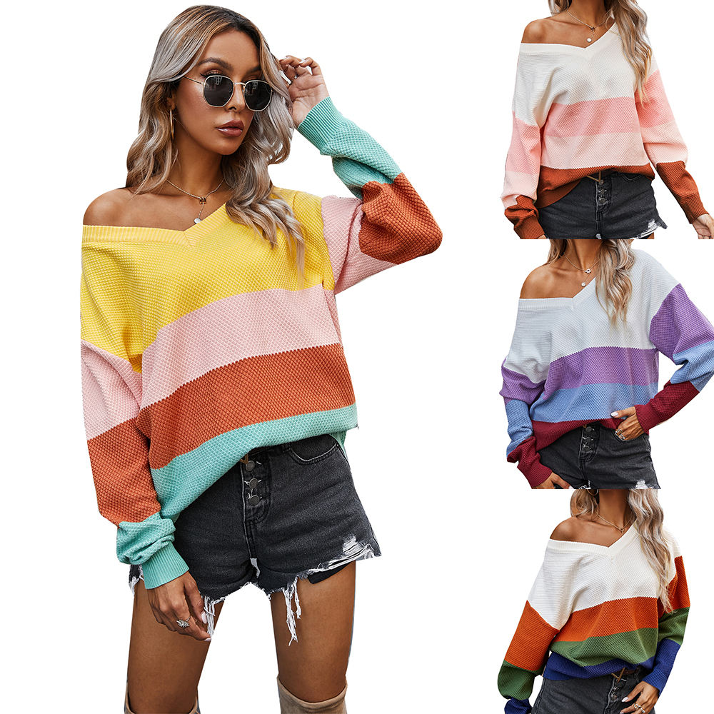 DY2048006#Cross-border Women's 2020 Autumn And Winter Classic Striped Contrast Sweater Women's Generation