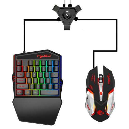 Keyboard and Mouse Converter Gaming Keyboard Set with LED Color Backlight for Android Mobile Game